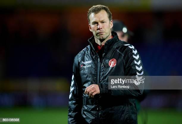Morten Wieghorst head coach of AaB Aalborg leaving the pitch after the Danish Alka Superliga match between Randers FC and AaB Aalborg at BioNutria...