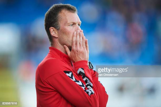Morten Wieghorst head coach of AaB Aalborg looks on during the Danish Alka Superliga match between OB Odense and AaB Aalborg at TREFOR Park on August...