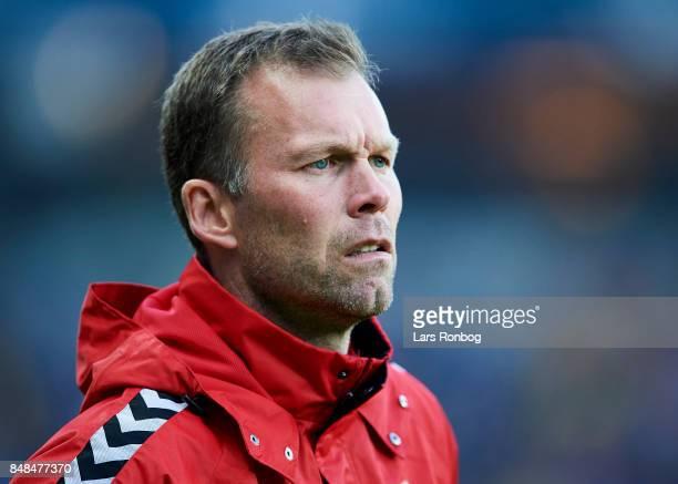 Morten Wieghorst head coach of AaB Aalborg looks on during the Danish Alka Superliga match between Brondby IF and AaB Aalborg at Brondby Stadion on...