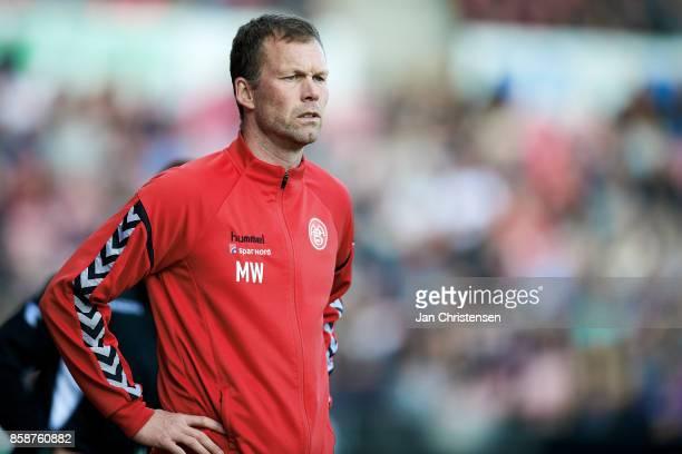 Morten Wieghorst head coach of AaB Aalborg looks on during the Danish Alka Superliga match between FC Midtjylland and AaB Aalborg at MCH Arena on...