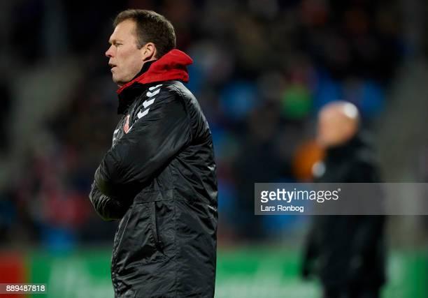 Morten Wieghorst head coach of AaB Aalborg looks on during the Danish Alka Superliga match between AaB Aalborg and FC Copenhagen at Aalborg Portland...