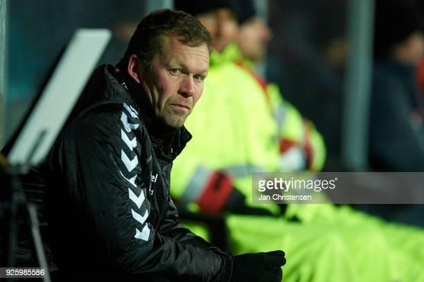 Morten Wieghorst head coach of AaB Aalborg looks on during the Danish Alka Superliga match between SonderjyskE and AaB Aalborg at Sydbank Park on...