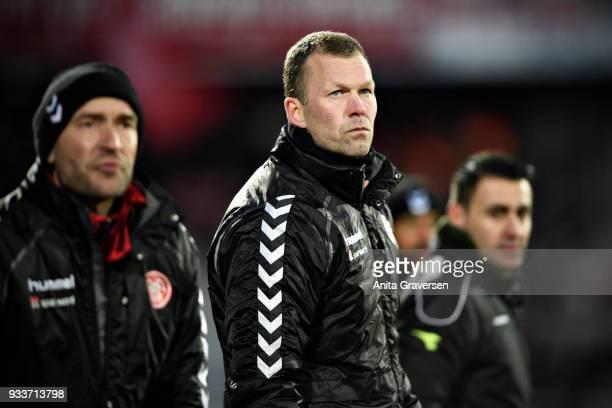 Morten Wieghorst head coach of AaB Aalborg looks on during the Danish Alka Superliga match between AGF Aarhus and AaB Aalborg at Ceres Park on March...