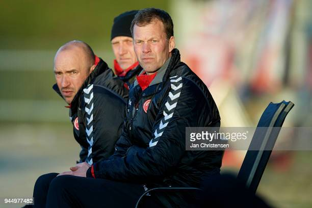 Morten Wieghorst head coach of AaB Aalborg looks on during the Danish DBU Pokalen Cup Quarterfinal match between FC Fredericia and AaB Aalborg at...