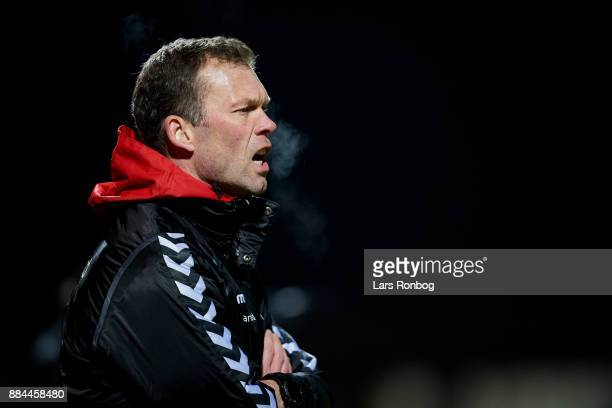 Morten Wieghorst head coach of AaB Aalborg shouts during the Danish Alka Superliga match between Lyngby BK and AaB Aalborg at Lyngby Stadion on...