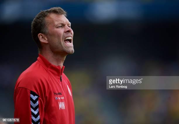 Morten Wieghorst head coach of AaB Aalborg shouts during the Danish Alka Superliga match between Brondby IF and AaB Aalborg at Brondby Stadion on May...