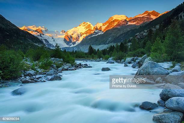 Morteratsch valley Piz Palue 3905 ms Piz Bernina 4049 ms Biancograt Morteratsch glacier Grisons Switzerland