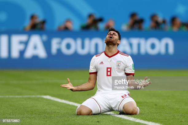 Morteza Pouraliganji of Iran celebrates victory after the 2018 FIFA World Cup Russia group B match between Morocco and Iran at Saint Petersburg...
