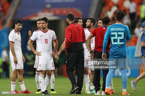 Morteza Pouraliganji of Iran cries after the 2018 FIFA World Cup Russia group B match between Iran and Portugal at Mordovia Arena on June 25 2018 in...