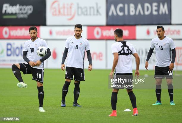 Morteza Pouraliganji of Iran national football team attends a training session ahead of a friendly football match between Turkey and Iran at BJK...