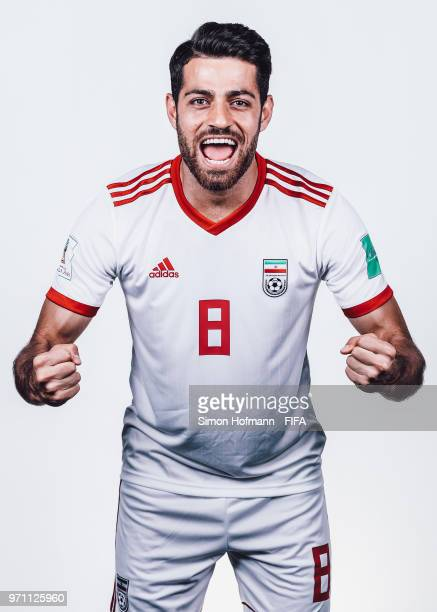 Morteza Pouraliganji of Iran poses during the official FIFA World Cup 2018 portrait session at Bakovka Training Base on June 9 2018 in Moscow Russia