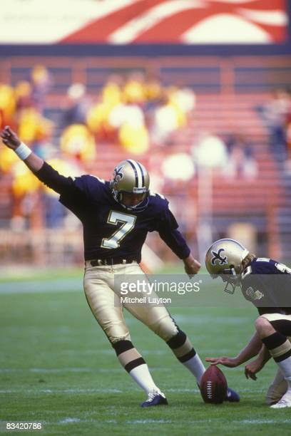 Morton Anderson of the New Orleans Saints kicks a field goal during a NFL football game against the Washington Redskins on November 6 1988 at RFK...
