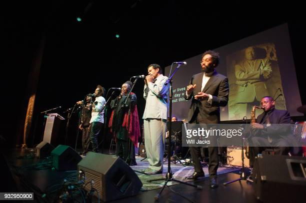 Morton Bobby Rush Betty Wright Travis Greene and William Bell sing the closing number at GRAMMY Museum Mississippi on March 16 2018 in Cleveland...