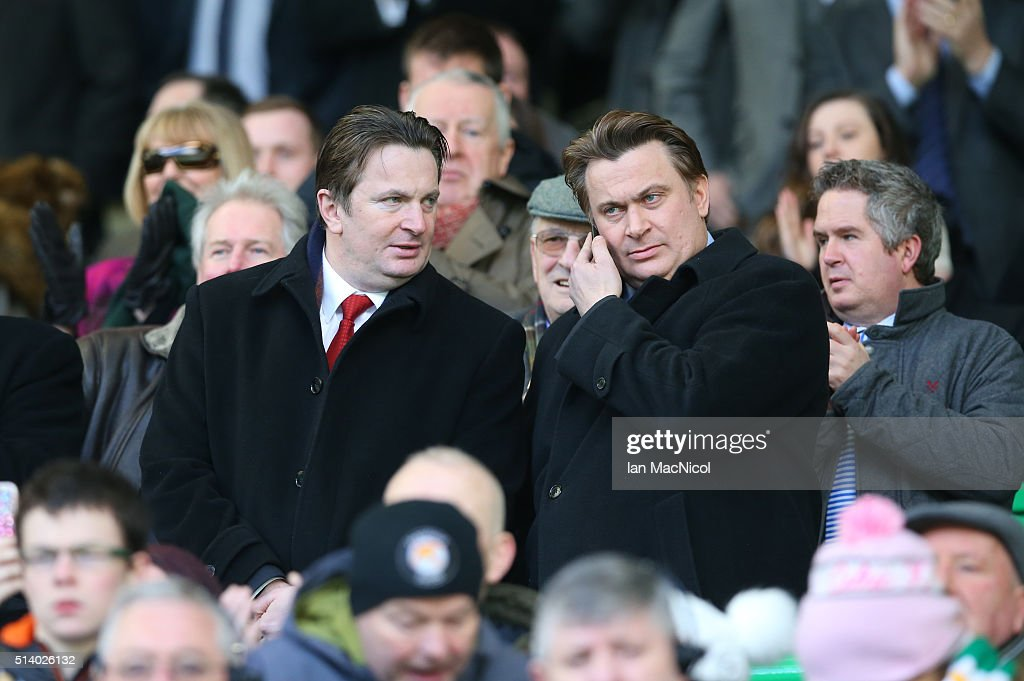 Morton directors James and Sandy Easdale looks on during the William Hill Scottish Cup Quarter Final match between Celtic and Greenock Morton at Celtic Park Stadium on March 6, 2016 in Glasgow, Scotland.
