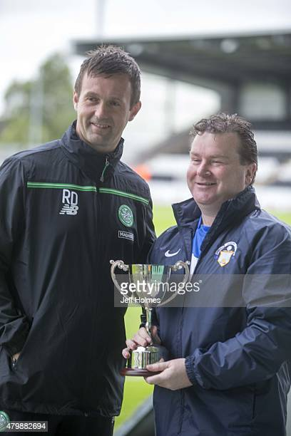 Morton FC kit man Andy Bryan with Celtic manager Ronny Deila ahead of his testimonial game at the Pre Season Friendly between Celtic and FK Dukla...