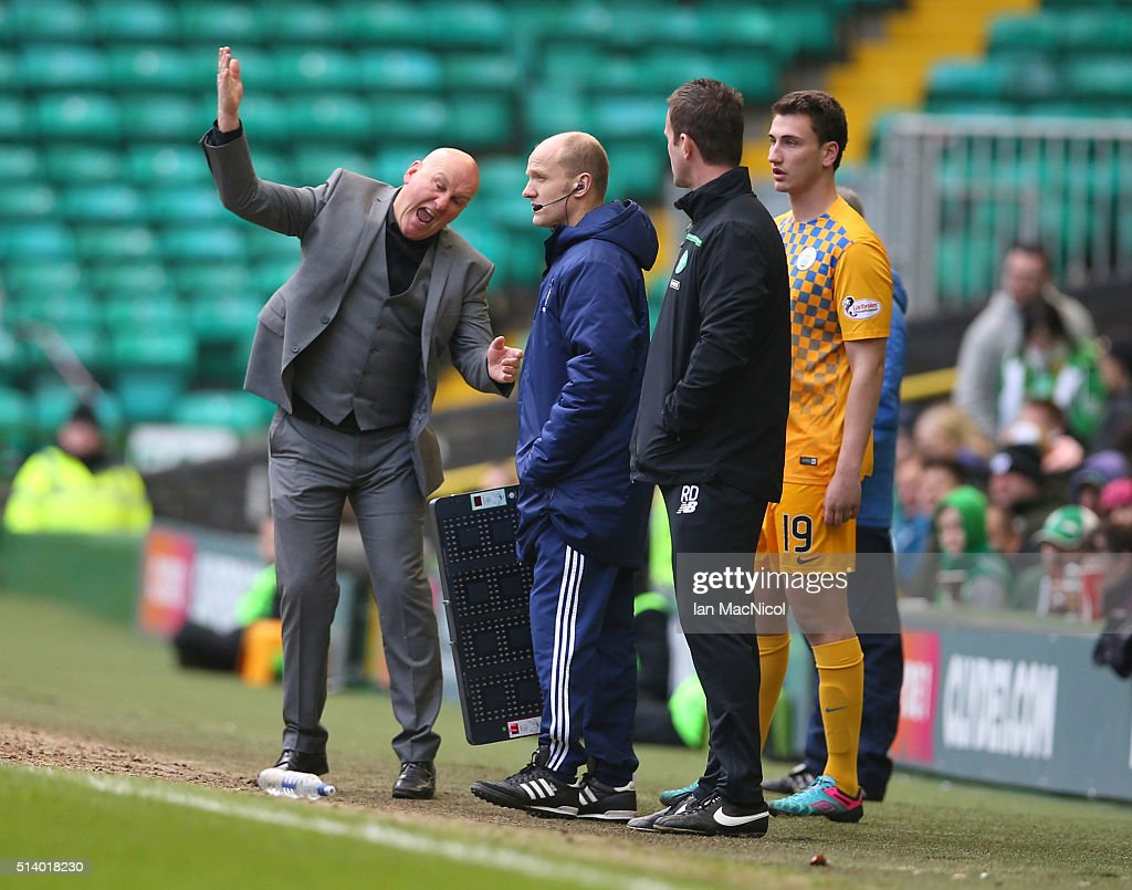 Morton manager Jim Duffy reacts during the William Hill Scottish Cup Quarter Final match between Celtic and Greenock Morton at Celtic Park Stadium on March 6, 2016 in Glasgow, Scotland.