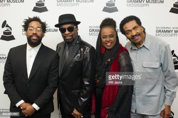 Morton William Bell Betty Wright and Bobby Rush pose backstageat GRAMMY Museum Mississippi on March 16 2018 in Cleveland Mississippi