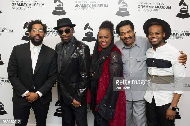 Morton William Bell Betty Wright Bobby Rush and Travis Greene pose backstage at GRAMMY Museum Mississippi on March 16 2018 in Cleveland Mississippi