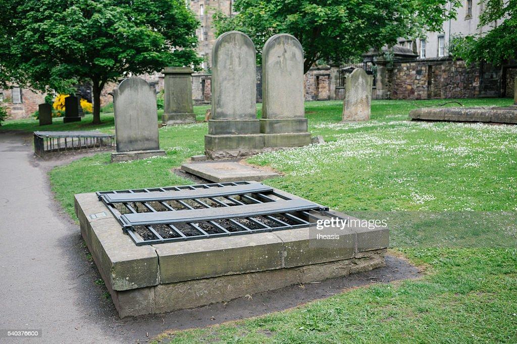 Mortsafes in Greyfriars Kirkyard, Edinburgh : Stock Photo
