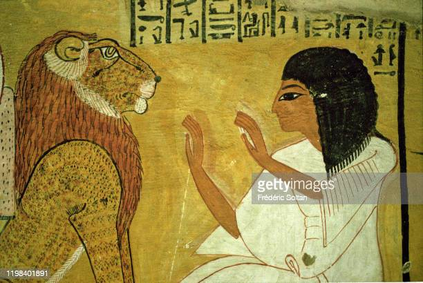 Mortuary Temple of Rameses III. Mural painting inside the tomb of Pharaoh Ramsses III in the Valley of the Kings in Luxor on November 15, 2010 in...