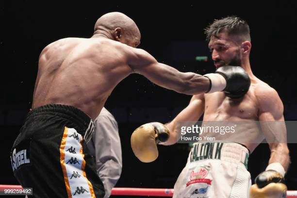 Moruti Mthalane of South Africa and Muhammad Waseem of Pakistan in action for the IBF World Title on July 15 2018 in Kuala Lumpur Malaysia