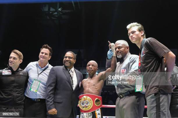 Moruti Mthalane of South Africa poses with his belt after winning the IBF World Title on July 15 2018 in Kuala Lumpur Malaysia