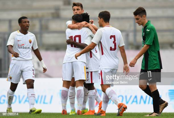 Niccolò Nardini of Pordenone celebrates after scoring the 11 goal during the U17 Supercup Final match between AS Roma and Pordenone at on June 22...