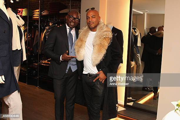 Mory Kaba and Dard Coaxum attend DuJour magazine's premier opening event Tincati Milano Concept Store on November 11 2014 in New York City