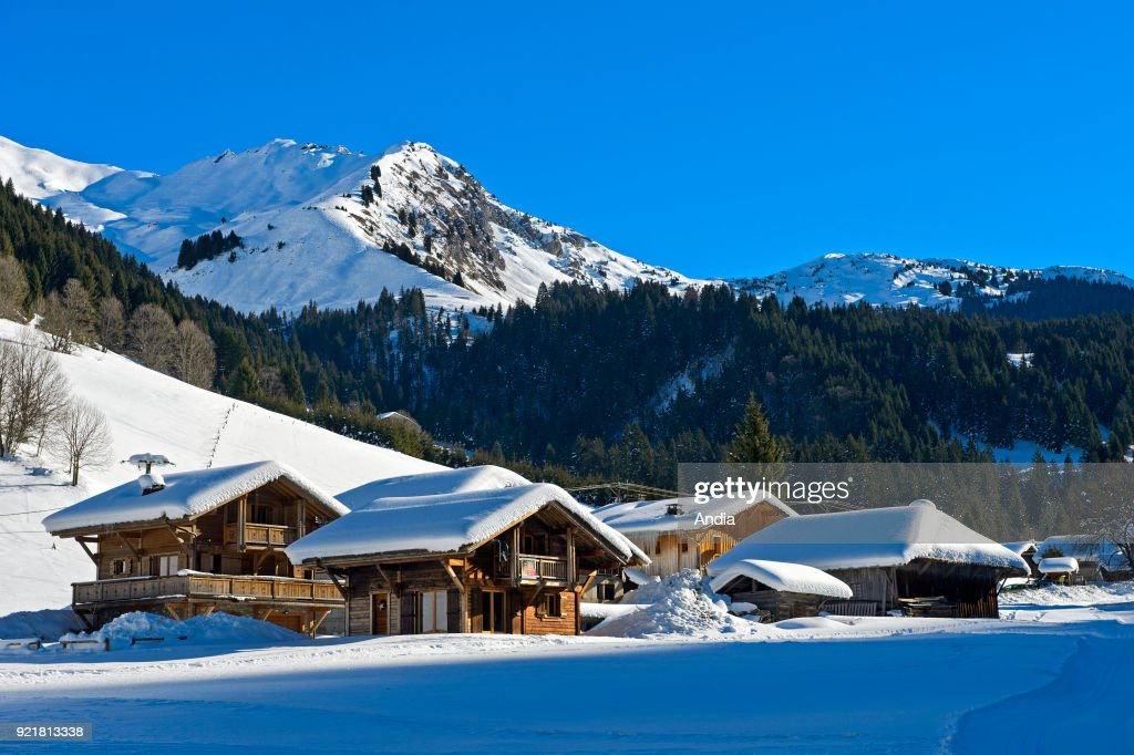 Chalets covered in snow. : News Photo