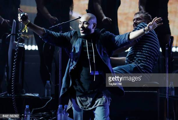 Mos Def performs onstage with Damon Albarn of Gorillaz during Day 2 at The Meadows Music Arts Festival at Citi Field on September 16 2017 in New York...