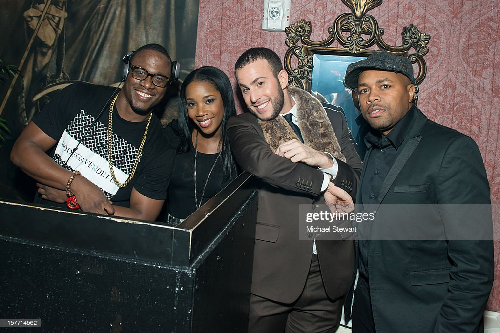 DJ Mos, DJ Kiss, blogger Micah Jesse and DJ D-Nice attend 'Baby I'm A Star' at Mister H on December 5, 2012 in New York City.