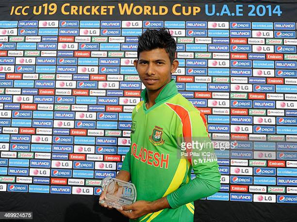 Mosaddek Hossain of Bangladesh poses with the man of the match award at the end of the ICC U19 world cup match between Bangladesh U19 and Namibia U19...