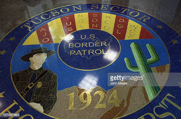 A mosaic adorns the floor of the US Border Patrol headquarters on December 7 2010 in Tucson Arizona The Tucson sector of the US Mexico border is...
