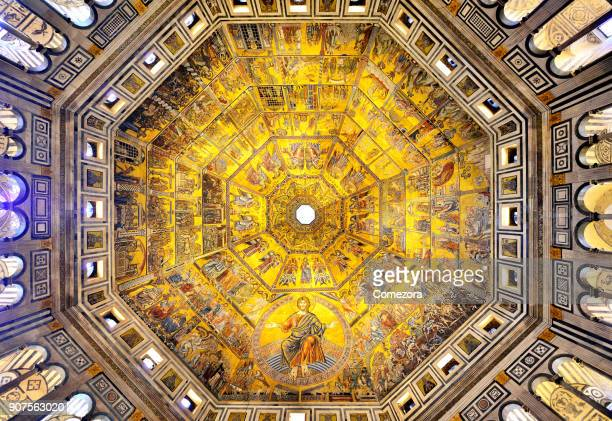 mosaic ceiling and roof, baptistry of san giovanni, florence, italy - florence italy stock pictures, royalty-free photos & images
