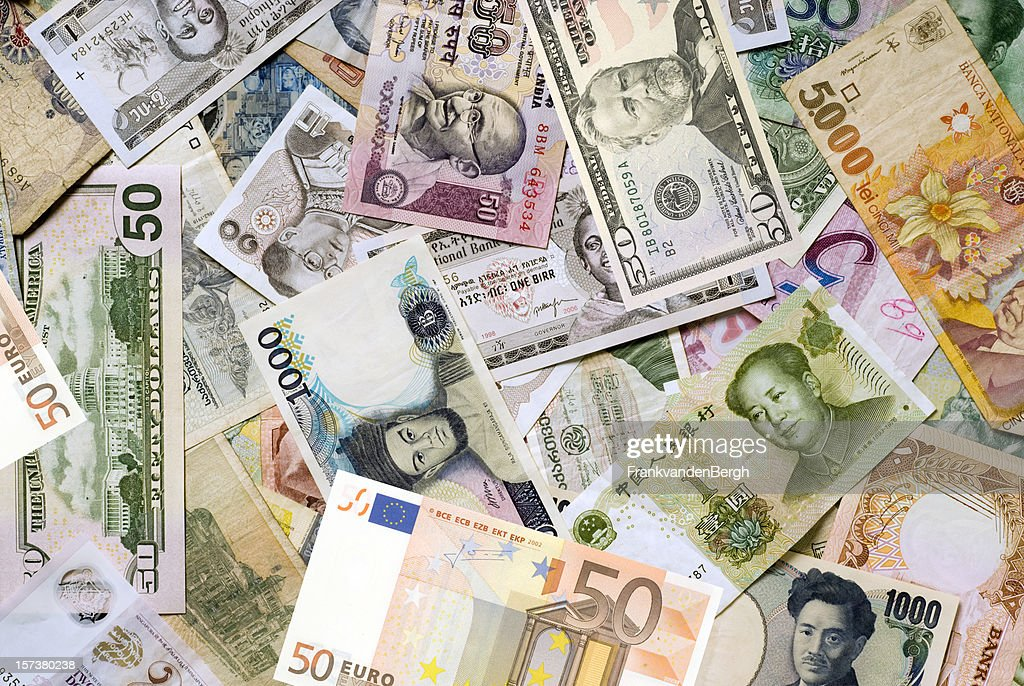 Mosaic collection of world currencies : Stock Photo