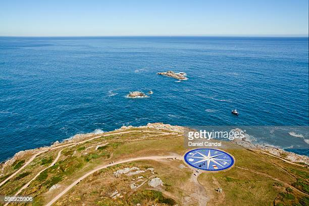 Mosaic compass rose in A Coruña, near the infinite Atlantic ocean, Galicia (Spain)