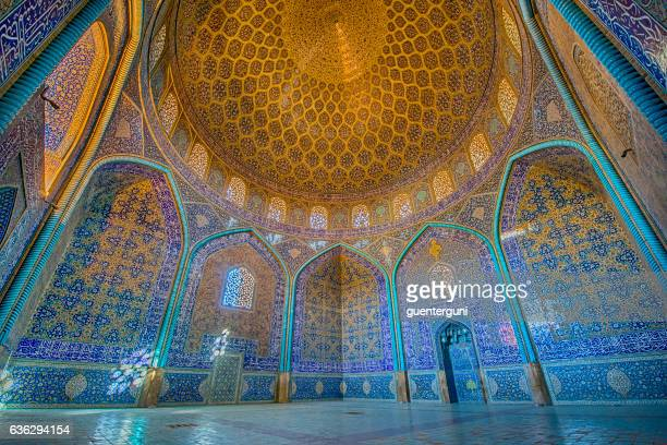 mosaic decoration inside of sheikh lotfollah mosque, isfahan - mosque stock pictures, royalty-free photos & images