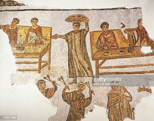 Mosaic depicting a banquet scene with musicians and servants from Carthage Roman Civilization 4th Century Tunis Musée National Du Bardo