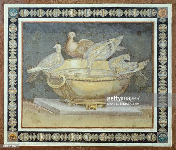 Mosaic depicting a bowl with doves from the Academy in Villa Adriana in Tivoli Lazio Roman Civilization 2nd Century Roma Museo Capitolino