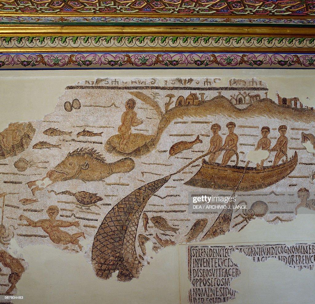 Mosaic depicting a marine scene, , mosaic from Sidi Abdullah near Hippo Diarrhytus, Bizerte, Tunisia. Roman civilisation, 5th century AD. Detail. Tunis, Musée National Du Bardo