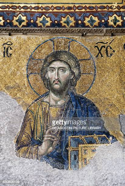 Mosaic depicting Christ Blessing 13th century southern tribune of Hagia Sophia historic centre of Istanbul Turkey