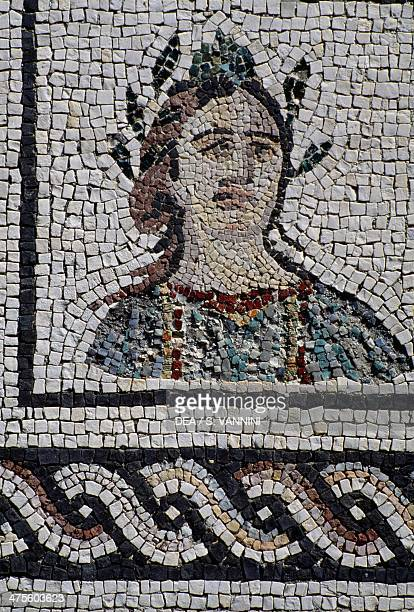 Mosaic depicting female face with head surrounded by laurel Isola Sacra Necropolis Fiumicino Lazio Roman civilisation 1st century BC