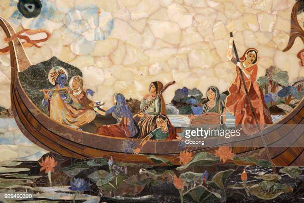 Mosaic depicting Hindu god Krishna with gopis in a boat India