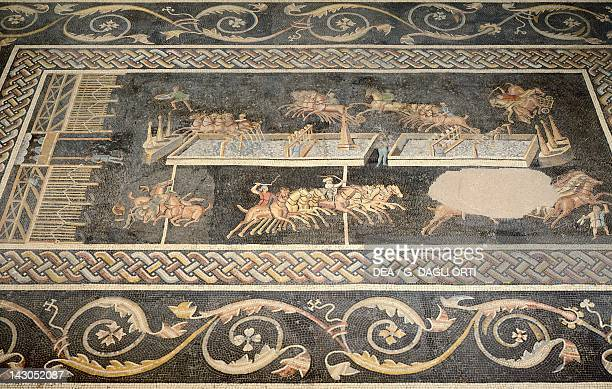Mosaic depicting the circus games GalloRoman Civilization 2nd Century Lyon Musée De La Civilisation GalloRomaine