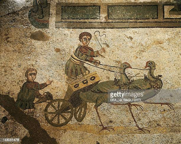 Mosaic depicting the Little Circus with Cupids as charioteers Villa Romana del Casale Piazza Armerina Sicily Roman Civilization 4th Century