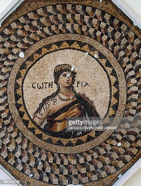 Mosaic depicting the personification of Soteria or she who protects artefact uncovered in Narlica near Antioch Turkey Roman Civilisation 5th century...