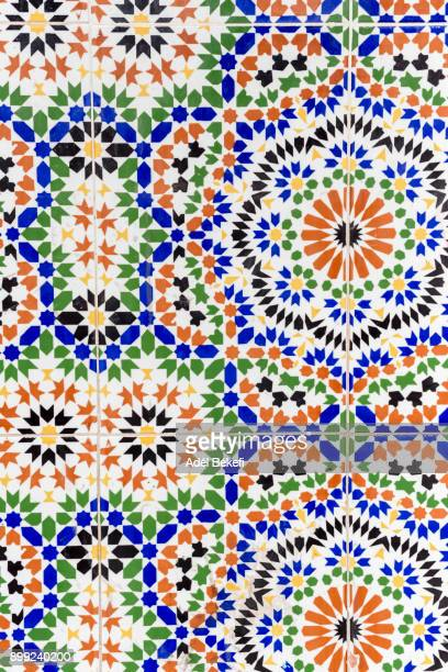 mosaic detail (morocco, marrakech, medina) - moroccan culture stock photos and pictures