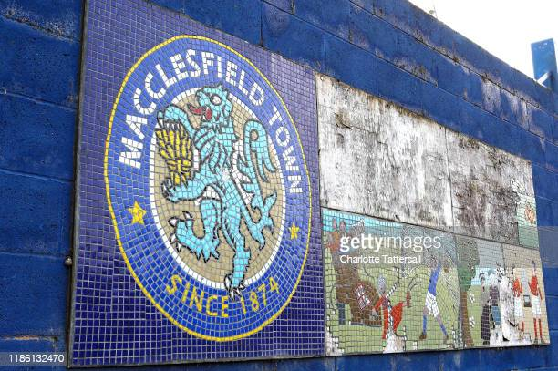 Mosaic display is seen outside the stadium prior to the Leasing.com Trophy match between Macclesfield Town and Port Vale at Moss Rose Ground on...