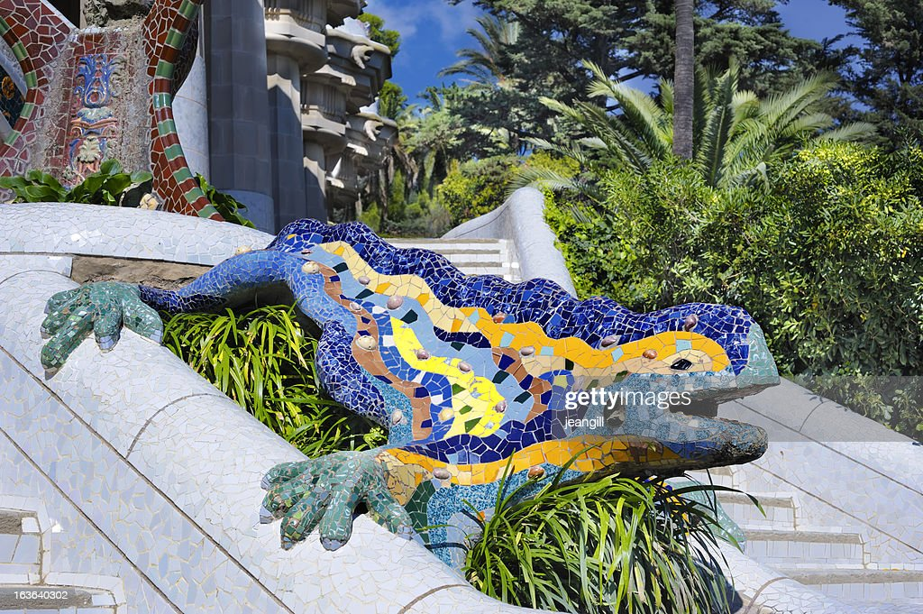 Mosaic dragon, Park Gwell, Barcelona : Stock Photo