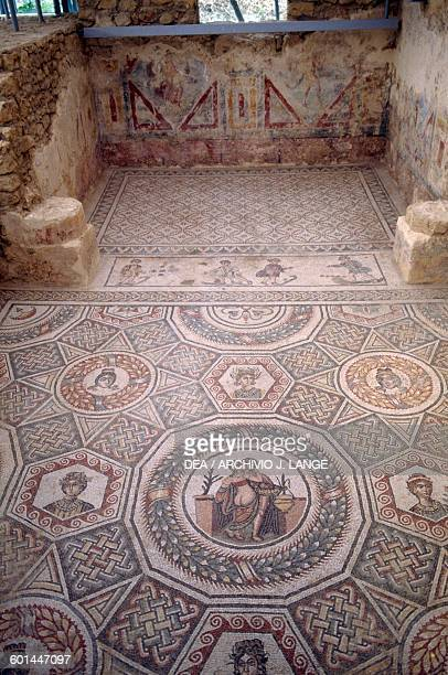 Mosaic floor with Erotic scene from the cubicle in the Villa Romana del Casale Piazza Armerina Sicily Roman Civilization 4th century AD